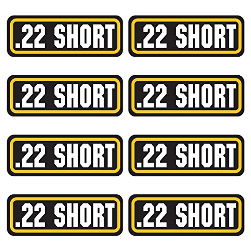 22 SHORT ammo sticker 8 PACK - LAMINATED Can Box Vinyl Decal bullet ARMY Gun safety Hunting label
