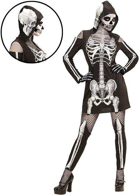 NET TOYS Disfraz de Esqueleto con Capota | Negro-Blanco en Talla L ...