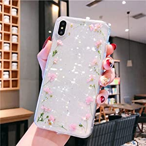 Bling Case for iPhone XR Flower Case,Girls Women Sparkly Shiny Glitter Bling Crystal Clear Soft Flexible Rubber Gel TPU Pressed Dry Real Flowers Case Floral Cover for iPhone XR Silicone Case,Pink B