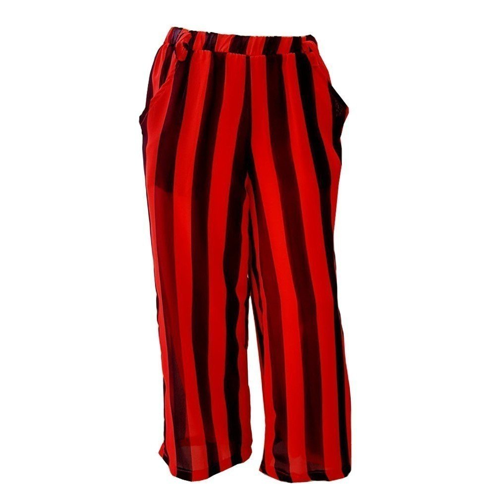 Sinai Kids Big Girls Black Red Stripe Pattern Loose Fitting Summer Style Pants 8-14