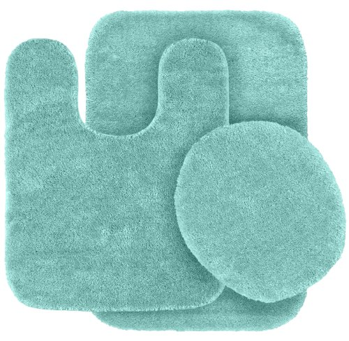 3 Piece Traditional Bath Rug Set, Sea Foam