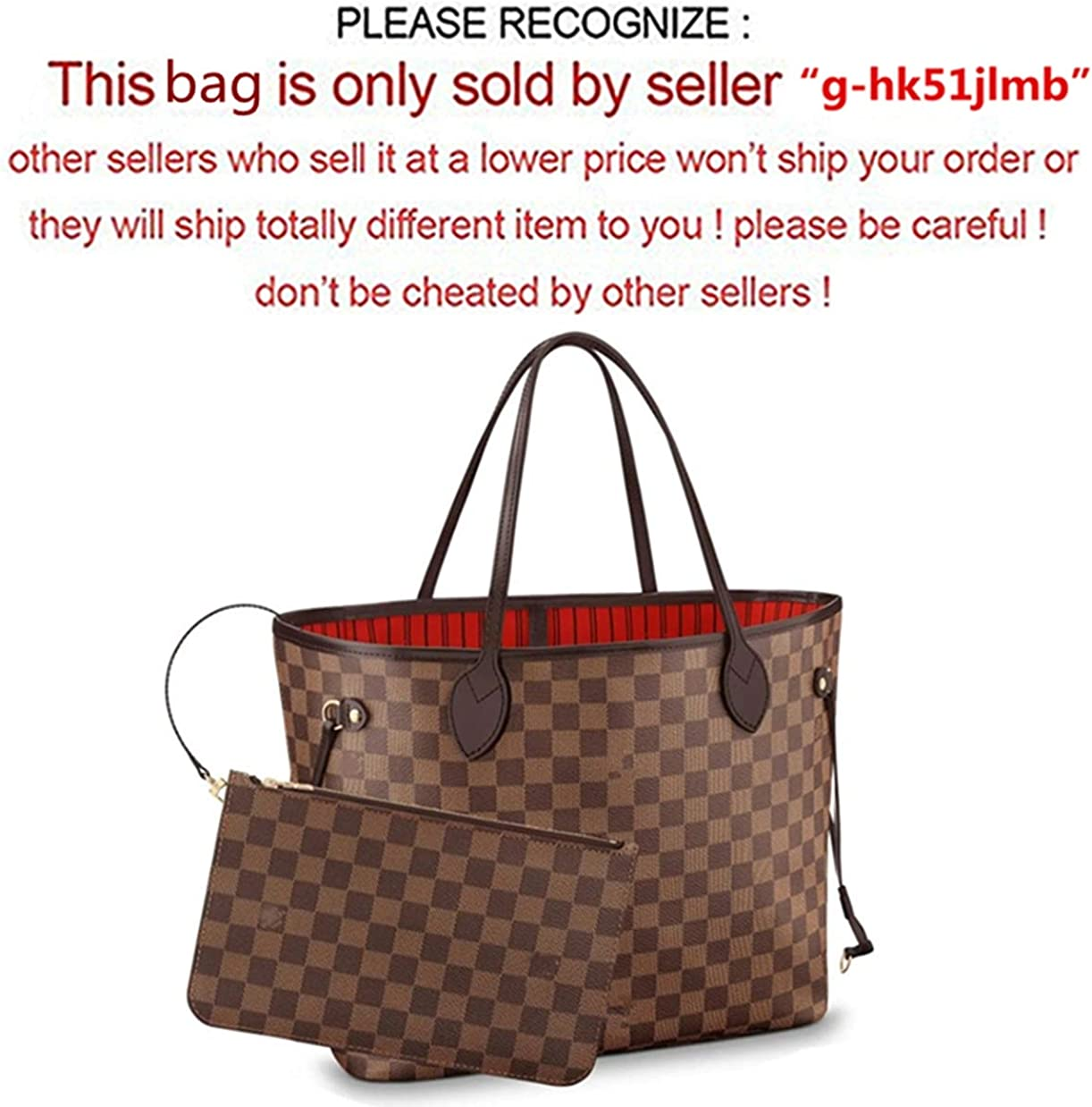 Red Leather House Woman Organizer Handbag Damier Tote Shoulder Fashion Bag Brown 40x32x20cm