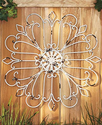 Outdoor House Decor (Outdoor Antique White Rustic Finish Iron Wall Medallions Metal Display Hangs Indoors or Porch or Patio Wall Art Decor Home Decorations)