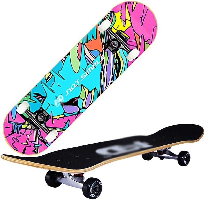 LINGLING-スケートボード スケートボード四輪ダブルロッカー成人青年初心者プロメープルロングボード男性と女性のスクーター - クールヒップホップをプレイ Colorful