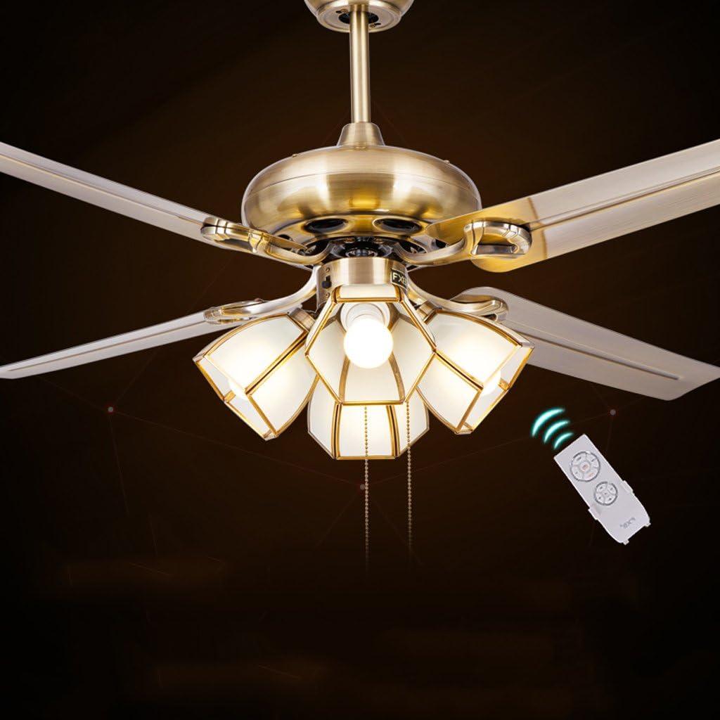 Techo de la luz del ventilador del ventilador luces restaurante moderno y minimalista hoja de la antigüedad abanico de hierro retro araña restaurante europeo salón