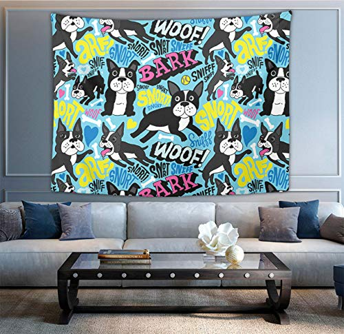 NiYoung Hippie Hippy Wall Tapestry Boston Terrier Pop Art Queen Tapestry Wall Hanging Throw Tapestries for Dorm Room - Mandala Meditation Picnic Blanket Room -