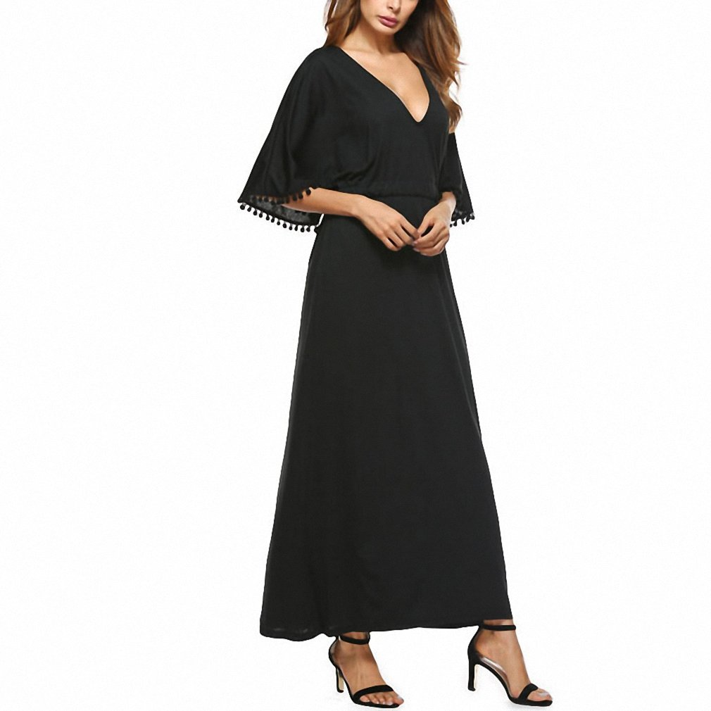 Women Sexy Long Dress Party Elegant Ladies Deep V Neck Pom-pom Half Sleeve High Waist Tie Maxi Dress Vestidos Q558 at Amazon Womens Clothing store: