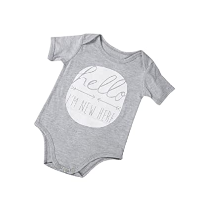 Winsummer Infant and Toddler Baby Hello I'm Short Sleeve Bodysuit Romper Jumpsuit Onesies Playsuit Outfit