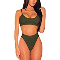 Pink Queen Women's Push Up Pad High Cut High Waisted Cheeky Two Piece Swimsuit
