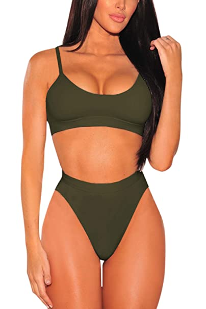 74711b7801 Pink Queen Women s Strap High Cut High Waisted Cheeky Bikini Set S Army  Green