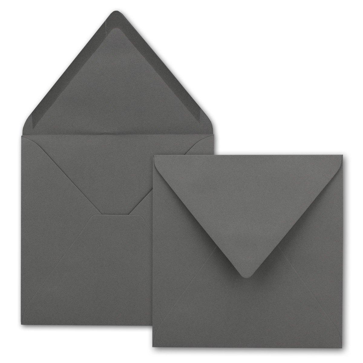 Buste quadrate,/Grafite–Grigio scuro, pesante qualità–molto resistente–110G/M², 158X 158mm, nassklebung, pizzo Patta//AUS der Serie colore froh von neuser. 25 Umschläge grigio scuro /Grafite-Grigio scuro