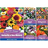 De Ree Scatter Butterfly & Bee Mixture Flower Seeds Gardens and Borders [ 2 Packet ] by De Ree
