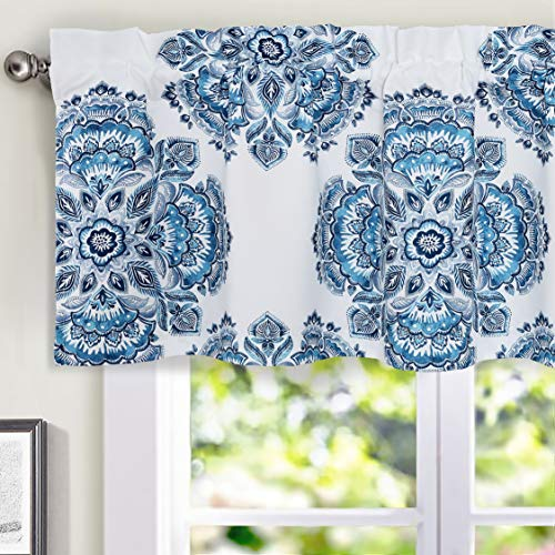 DriftAway Mila Flower/Floral Leaves Pattern Lined Thermal Insulated Energy Saving Window Curtain Valance for Living Room Bedroom Kitchen, 2 Layer, Rod Pocket, 52