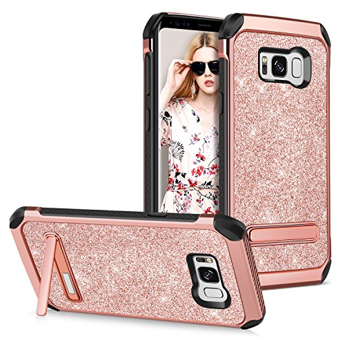 GUAGUA Galaxy S8 Case Kicstand Slim Glitter Luxury Girls Women Dual Layer Hybrid Hard PC Cover with Bling Faux Leather Shockproof Protective Tough Phone Cases for Samsung Galaxy S8,Rose Gold/Pink