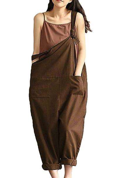 Hosen Damen Sommerhose Freizeithose Jumpsuit Trägerhose Große Größen Young  Fashion Elegante Mädchen Schöne Bequeme Trend Locker a6f385d581