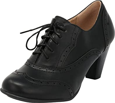 8390bef910283 Cambridge Select Women's Lace-Up Closed Round Toe Vintage Inspired Wingtip  Stacked Mid Heel Oxford Pump