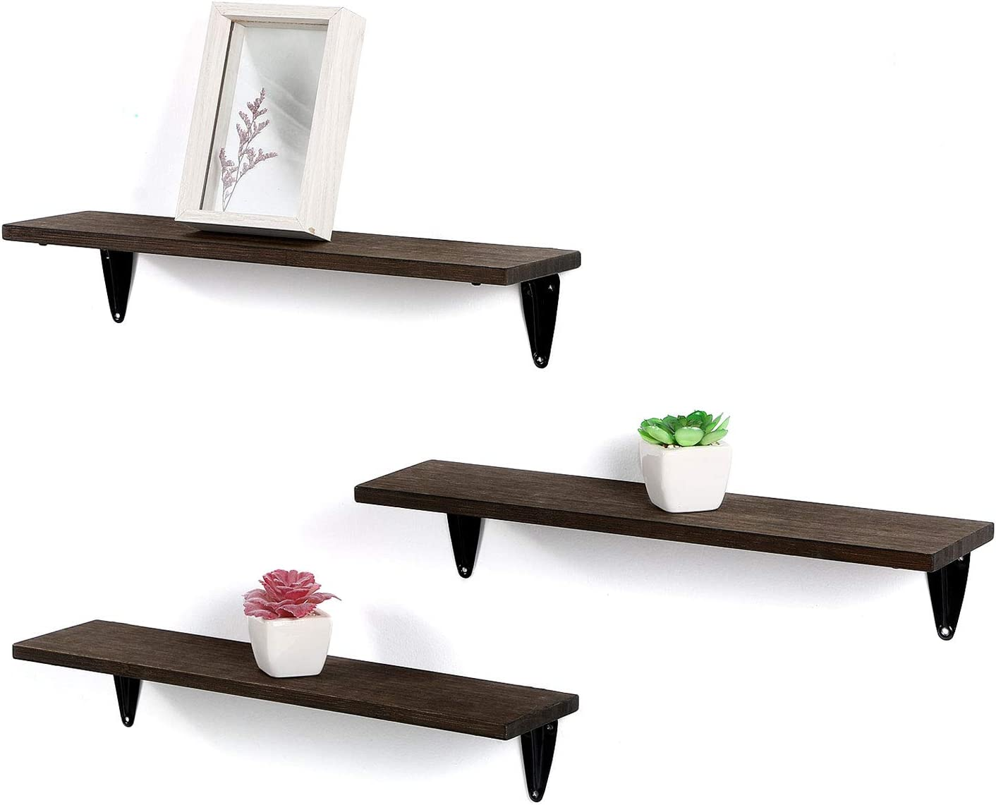 Dawan Floating Shelves, Natural Bamboo Wall Mounted Shelves Storage Display Shelf Decorative for Living Room Bathroom Kitchen Office Set of 3 Chocalate