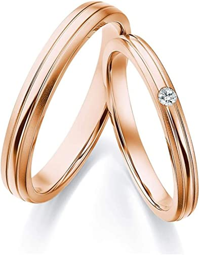 Gnzoe 2pcs 18k Rose Gold Wedding Bands For Couples Simple 0 04ct Round Diamond Engagement Wedding Ring For Him Her Women Size 5 Men Size 10 Amazon Com