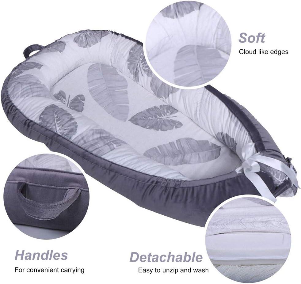 Kobwa Chaise longue pour nouveau-n/é lit bionique pour b/éb/és Matelas de berceau 100/% coton pour chambre /à coucher doux et respirant pour b/éb/é tout-petits voyage portable housse amovible