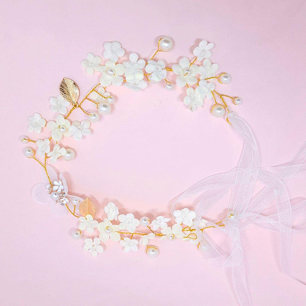 Wreath Flower, Headband Flower Garland Handmade Wedding Bride Party Ribbon Headband Wristband Hairband-White (Color : White)