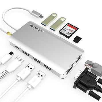 Amazon.com: LETSCOM USB C Hub, 11 en 1 USB C adaptador con ...