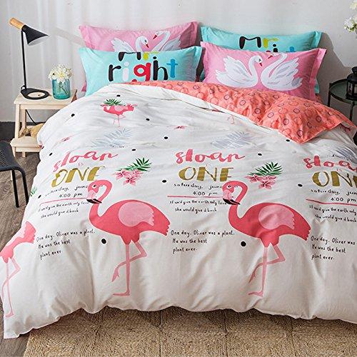 Papa&Mima Flamingo Birds Cartoon Duvet Cover Set Flat Sheet