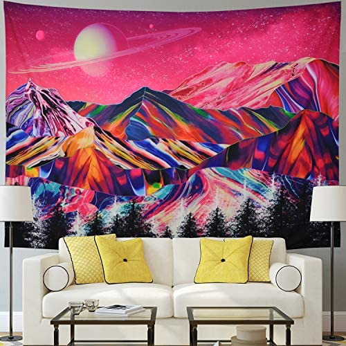 Racunbula Trippy Mountains Tapestry Planet Tapestry Forest Tree Tapestry Psychedelic Tapestry Pink Nature Landscape Wall Hanging Tapestries for Room X-Large, Candy Mountain