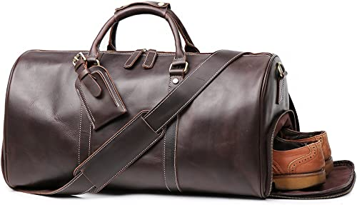Leathfocus Leather Travel Luggage Bag With Side Pocket, Mens Duffle Retro Carry on Handbag Dark Brown