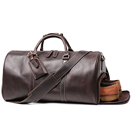 LeatherFocus Leather Travel Luggage Bag With Side Pocket, Mens Duffle Retro Carry on Handbag (Dark Brown)