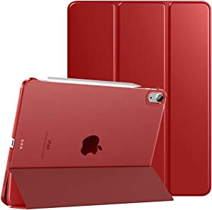 TiMOVO Case for New iPad Air 4th Generation, iPad Air 4 Case (10.9-inch, 2020), [Support 2nd Gen Apple Pencil Charging] Slim Stand Protective Cover Shell with Auto Wake/Sleep - Red