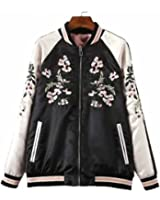 Viport Women's Floral Phoenix Embroidered Reversible Bomber Jacket Black Red