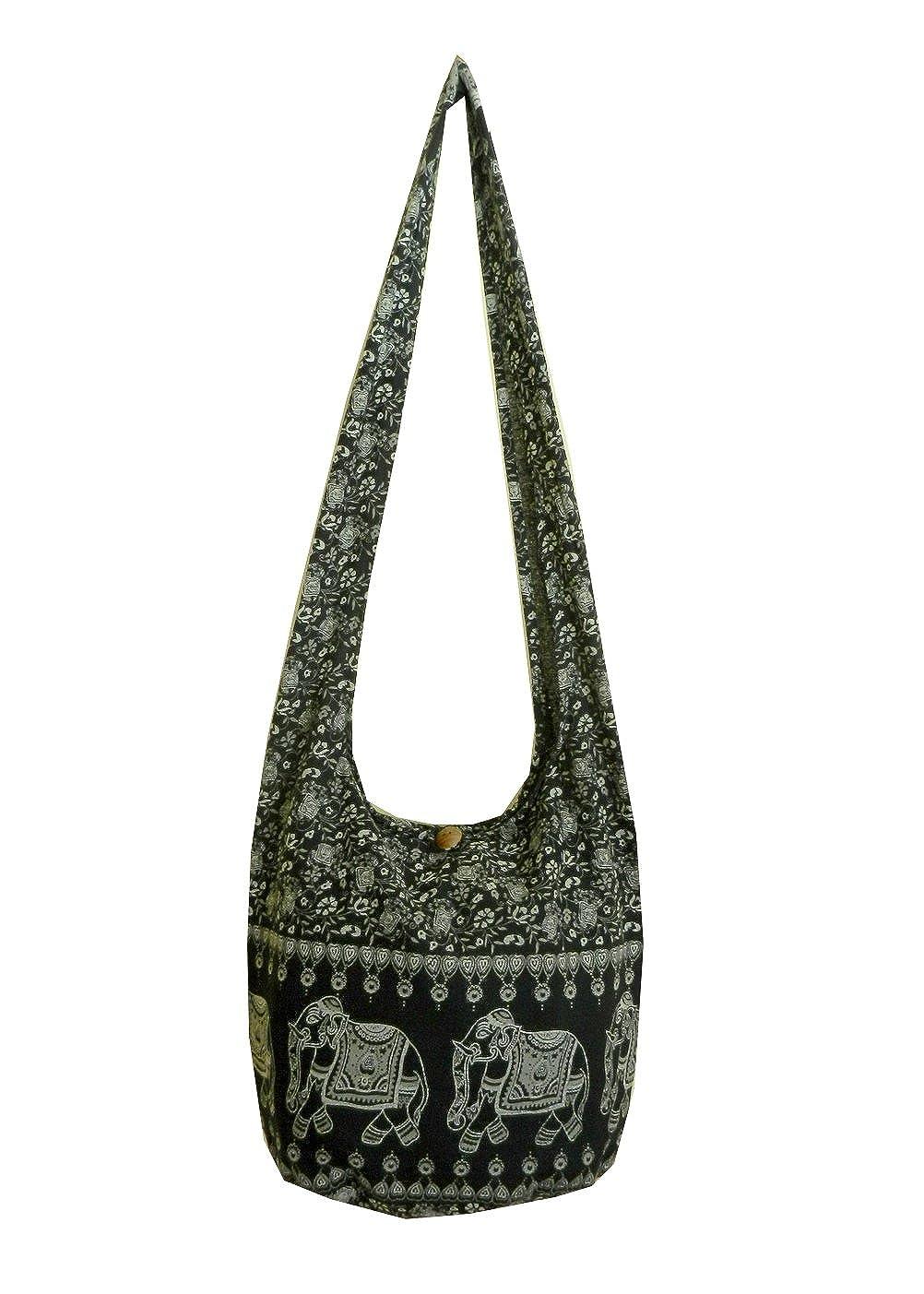 425cc6d406048 Elephant Sling Crossbody Shoulder Bag Purse Hippie Hobo Thai Cotton Gypsy  Bohemian Large Black NE6  Shoes