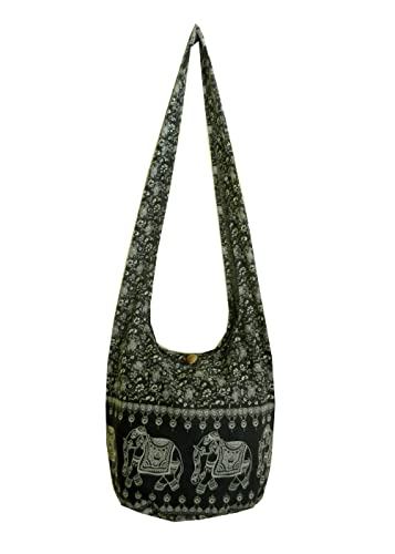 Elephant Sling Crossbody Shoulder Bag Purse Hippie Hobo Thai Cotton Gypsy  Bohemian Large Black NE6  Shoes 05503956a6ed1