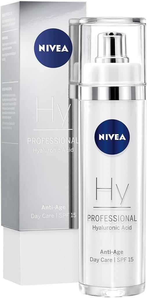 NIVEA PROFESSIONAL Ácido hialurónico, crema de día con FP15, crema antiedad de alta eficacia, innovadora crema reafirmante facial antiarrugas, protección solar contra el fotoenvejecimiento, 1 x 50 ml