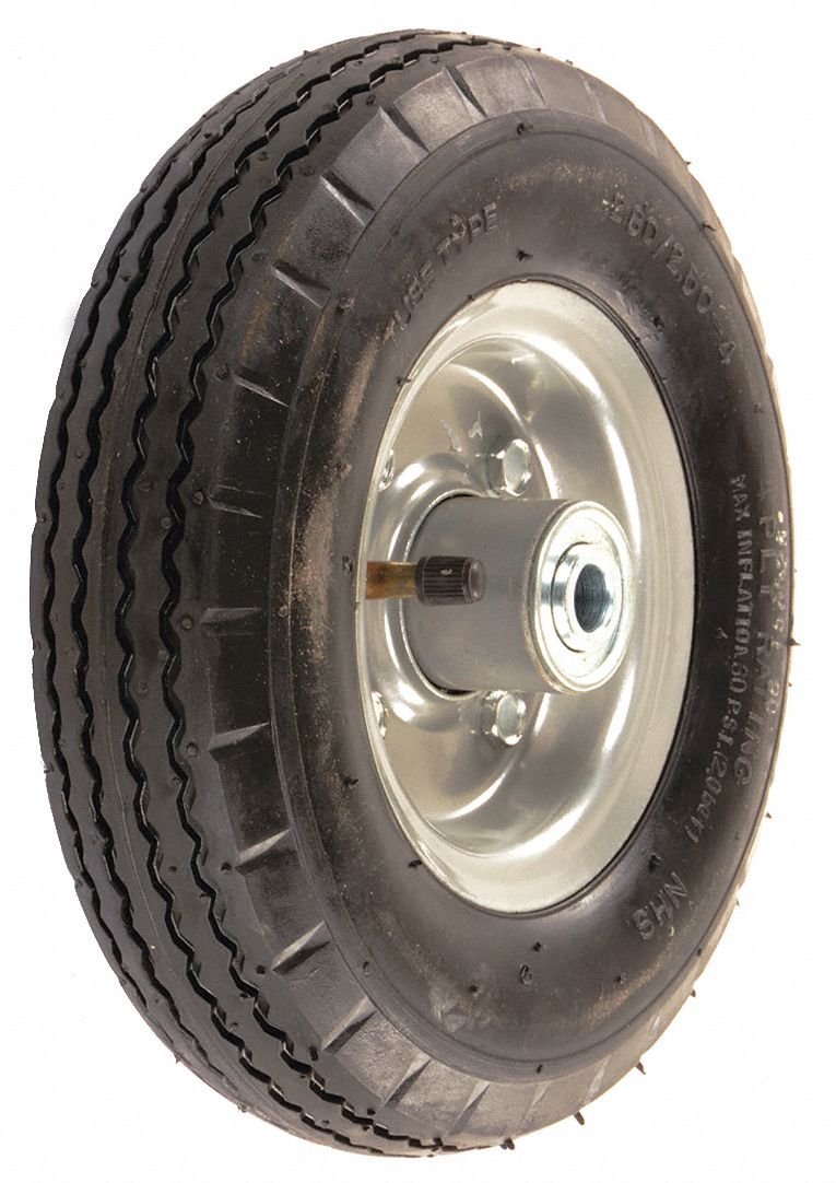 8'' Light-Duty Sawtooth Tread Pneumatic Wheel, 220 lb. Load Rating