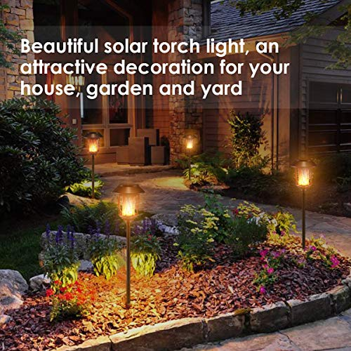 TomCare Solar Lights Metal Flickering Flame Solar Torches Lights Waterproof Outdoor Heavy Duty Lighting Solar Pathway Lights Landscape Lighting Dusk to Dawn Auto On/Off for Garden Patio Yard, 2 Pack by TomCare (Image #4)