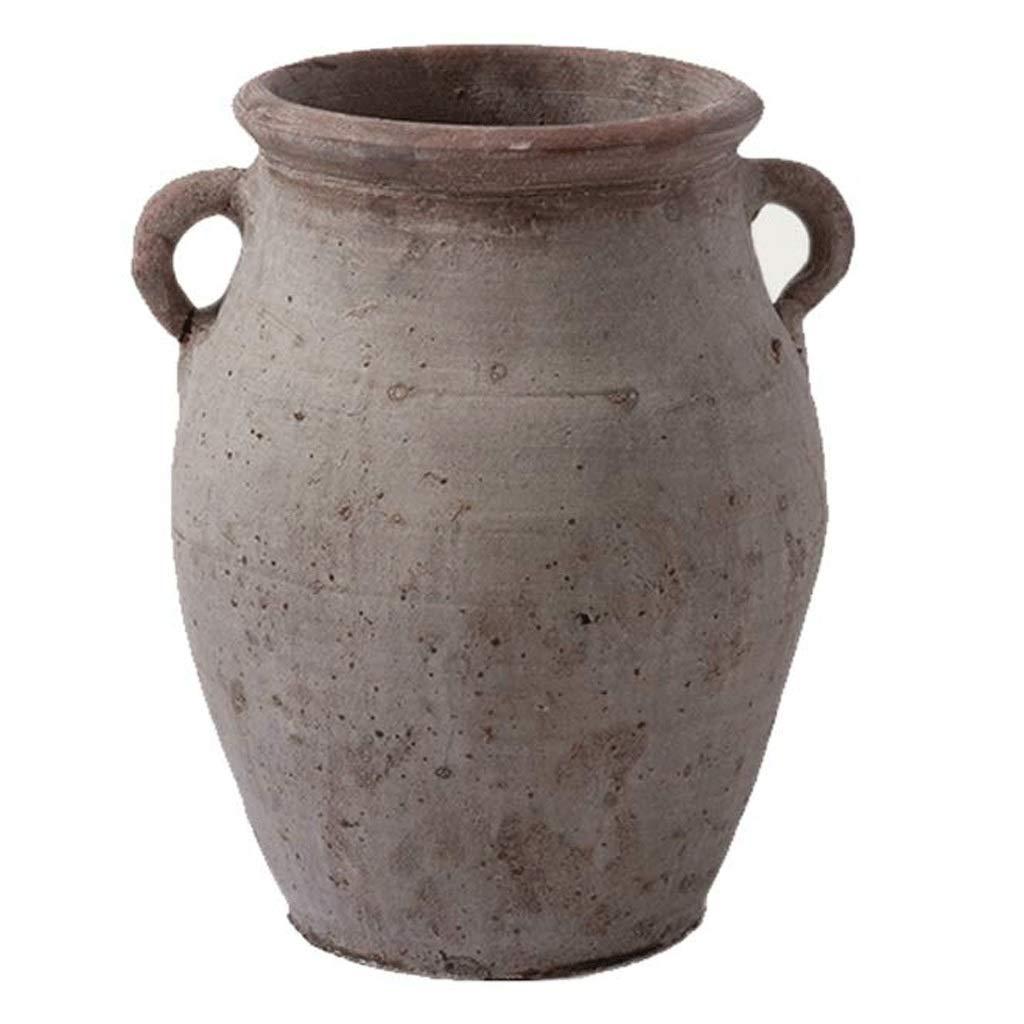 円柱装飾花瓶 セラミック花瓶AXZHYZ190531007アンティーク苦しめられた石器乾燥花の装飾振り子18×20×30センチ 写真円柱装飾花瓶ライフ花瓶フラワーショップブーケボックス B07SLRX3DG