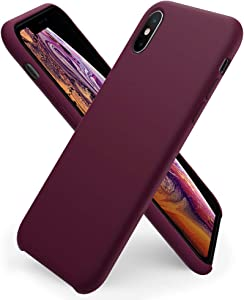 ORNARTO Liquid Silicone Case for iPhone Xs, iPhone X Slim Liquid Silicone Soft Gel Rubber Case Cover for Apple iPhone X/XS(2018) 5.8 inch-WineRed
