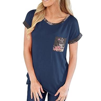 d24b77569932 Frauen Mode Oberteile Drucken Beiläufig Sommer T Shirt Tee Damen Rundhals  Kurzarm T-Shirt Bluse mit Taschen  Amazon.de  Bekleidung