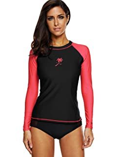 85a51c87ce ATTRACO Womens Rash Vest Long Sleeve Swim Shirts UPF 50+ Rash Guards Surf  Swimsuit Tops