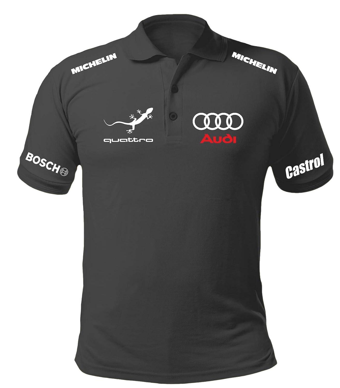 COLT REBELS Polo Manica Corta T-Shirt Audi Corse Fan Auto Non Ufficiale Uomo Nera AUP01