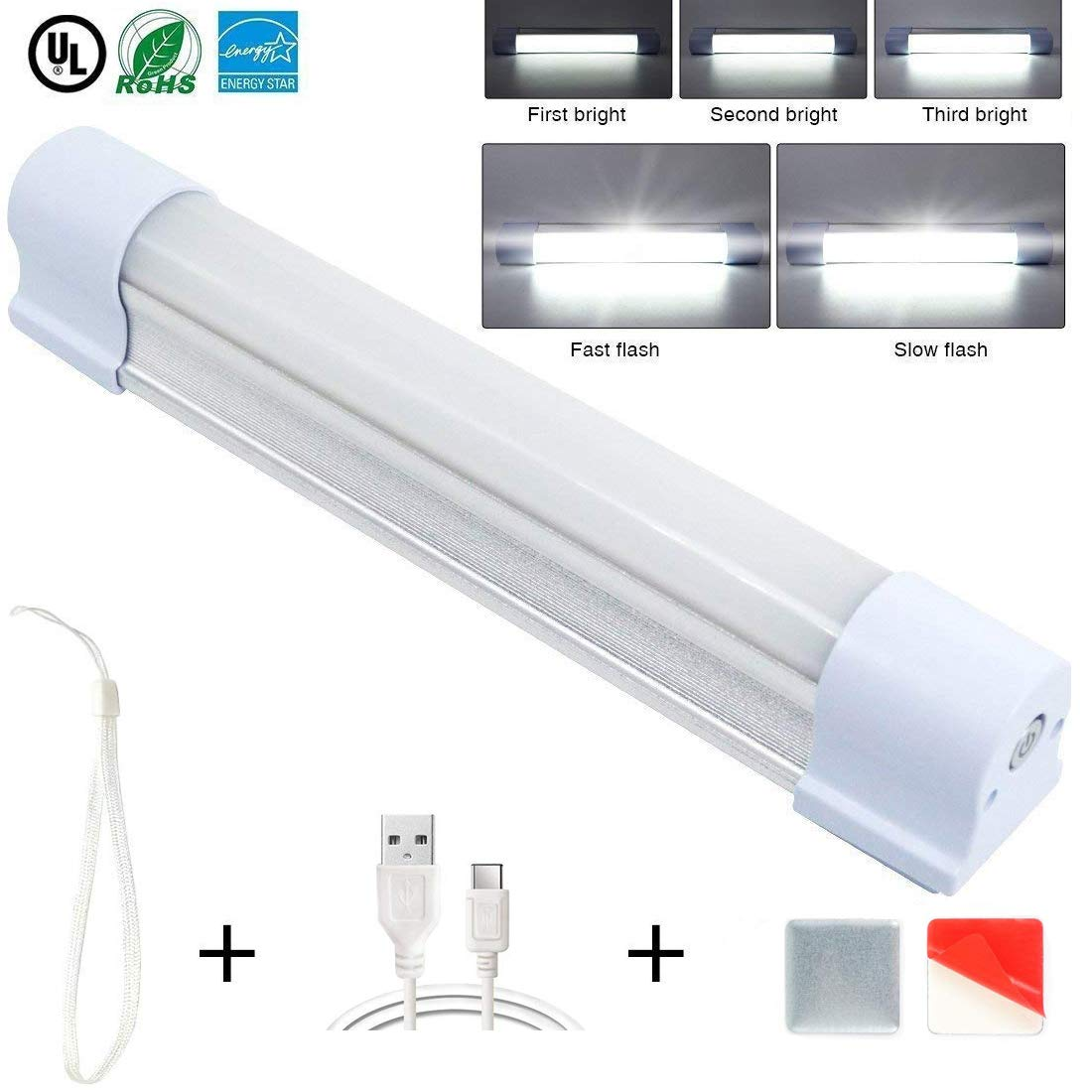 LETOUR LED Tube Magnetic Light Work Lights 60W 4000Lumens 5 Lighting Options Camping Lantern USB Rechargeable Portable Battery Powered Lights with 4 Magnets Endurance for 60 Hours SHUOFENG