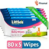 Little's Soft Cleansing Baby Wipes (Pack of 5, 80 Wipes)