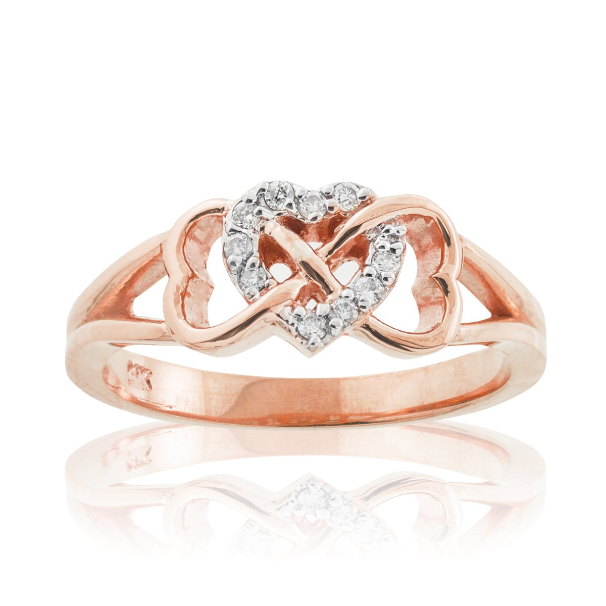 Solid 14k Rose Gold Diamond Triple Heart Infinity Ring (Size 5)