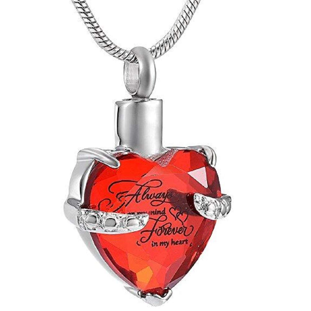 Kirijewels Personalized Crystal Cremation Always in My Heart Urn Necklace red Stone Pendant with Chain