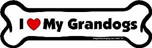 "Car Magnet-Bone-I Love My Grandogs- 2"" x 7"""