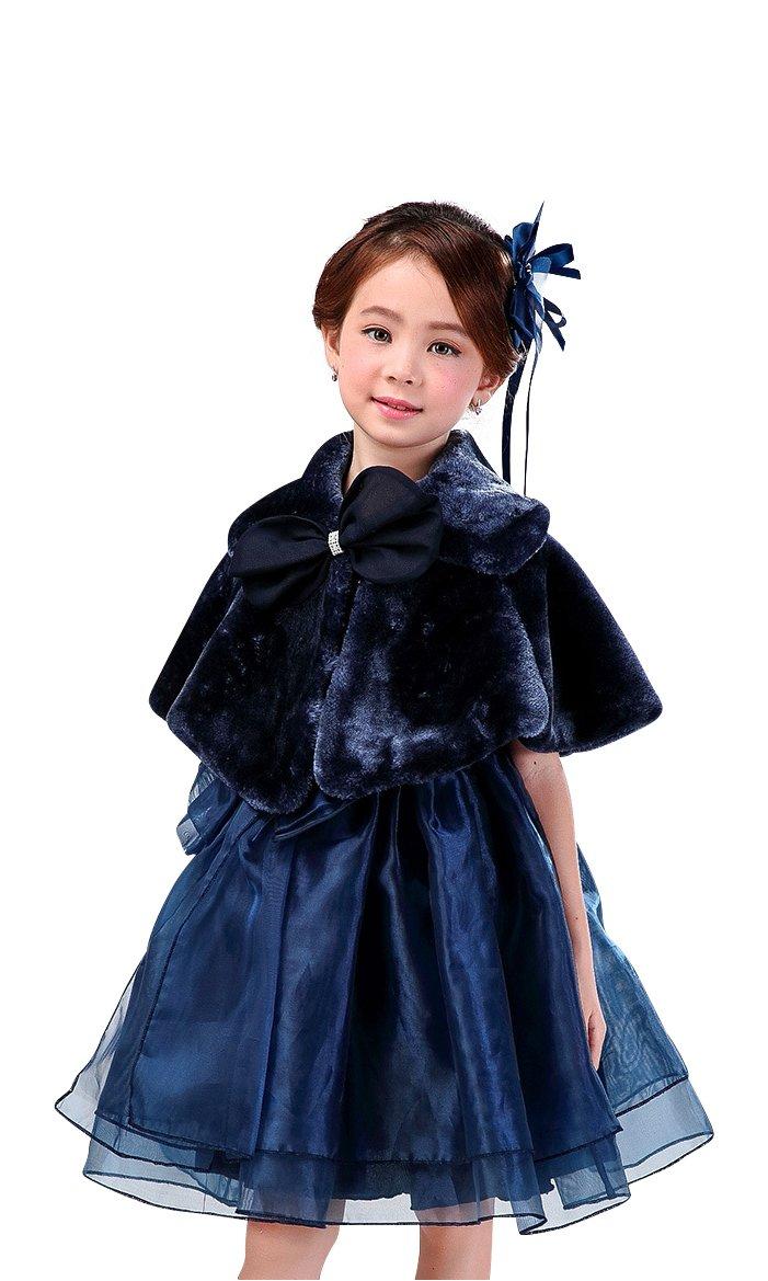 Shop Ginger Wedding Flower Girl Faux Fur Shawl Wraps Cape Kids Communion C4 140 (7-8Y, Navy)