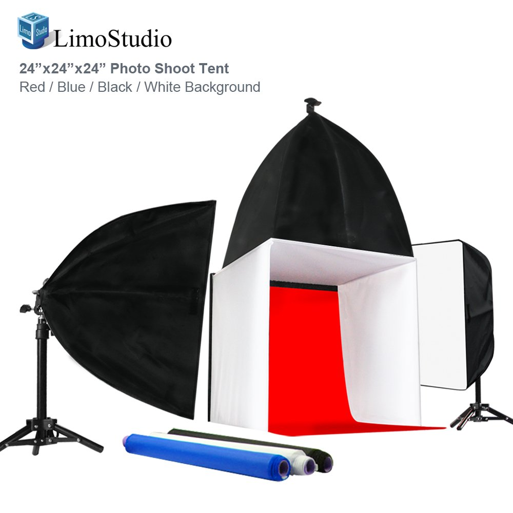 LimoStudio Photo Shoot Tent 24-inch with Color Background, Lightbulb & Soft Box, Light Stand Tripod, Professional Product/Commercial Photography, Photo Studio Lighting Kit, AGG1895V2 by LimoStudio (Image #1)