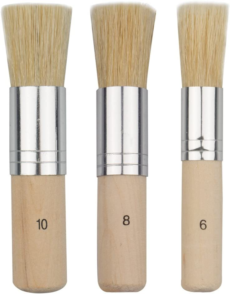 URlighting Wooden Stencil Brush (3 Pcs) - Natural Bristle Paint Brush for Acrylic Painting, Oil Painting, Watercolor Painting, Stencil Project, Card Making and DIY Art Crafts
