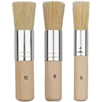 URlighting Wooden Stencil Brush (3 Pcs) - Natural Bristle Paint Brush for Acrylic Painting, Oil Painting, Watercolor…